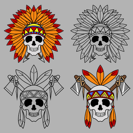 tomahawk: Four Native America Skull Mascot creative design Illustration