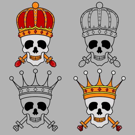 morto: Quatro design criativo do Rei mascote crânio coroa Ilustração