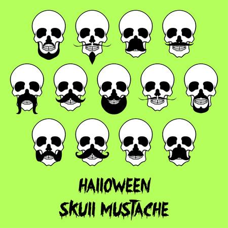 halloween tee shirt: 13 Halloween skull mustache Illustration