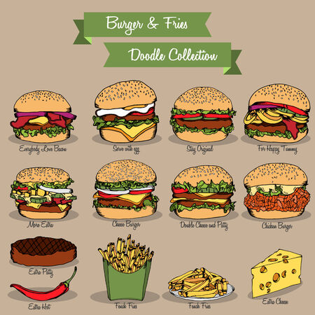 Burger and fries doodle set collection for restaurant menu Vector