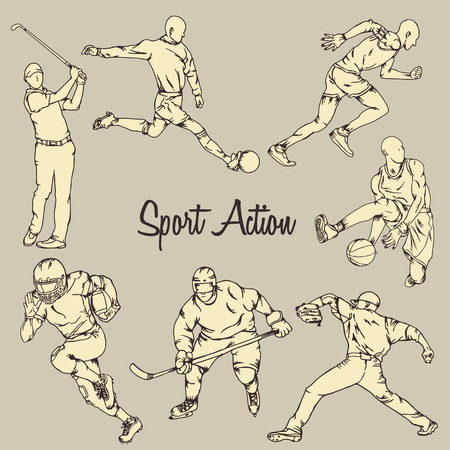 Seven sport action with vintage drawing style