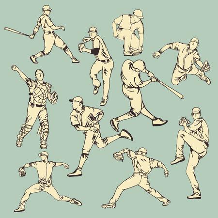 야구 스포츠 액션 일러스트