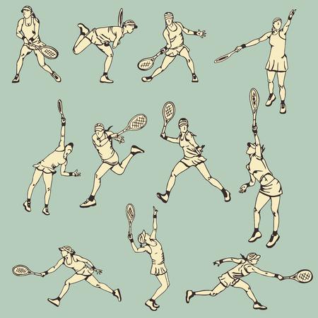 여자 테니스 액션 스포츠 일러스트