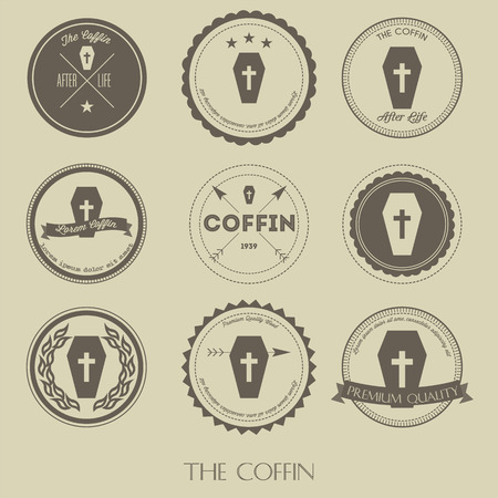 The vintage style of coffin business logo Illustration