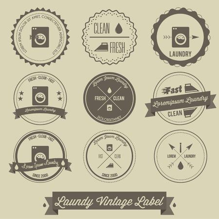 lavadora con ropa: Etiqueta de lavander�a vendimia negocio