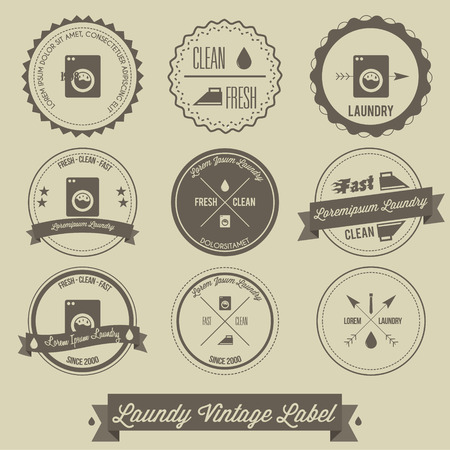 laundry hanger: Laundry business vintage label