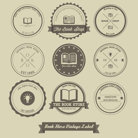 vintage etiket: Book Store Vintage Etiket Stock Illustratie