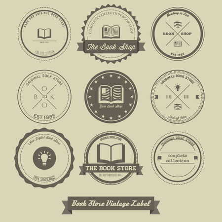 bookstore: Book Store Vintage Label Illustration