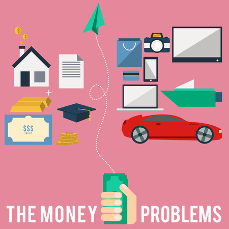 money problems: The creative flat design icon of money problems
