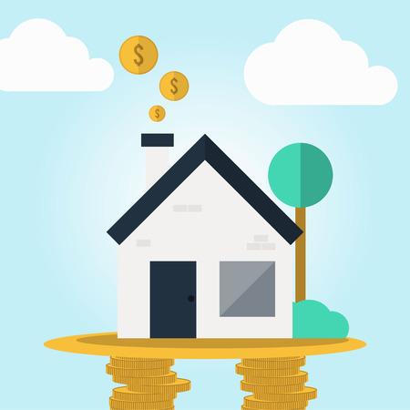 cashflow: Real estate cashflow assets in flat design concept Illustration