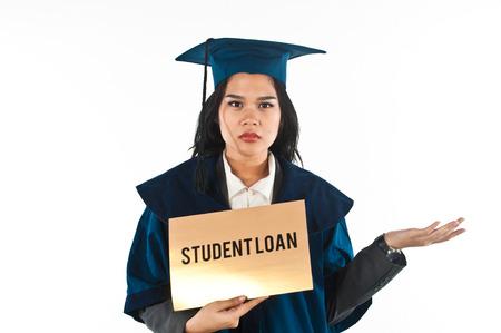 여성 학생 그녀의 학자금 대출을 지불하는 방법을 혼동 스톡 콘텐츠