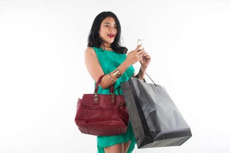 branded: Shopaholic girl spending her money for branded item Stock Photo
