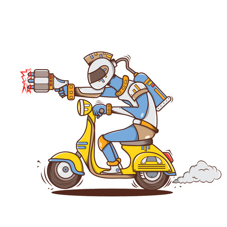 clipart street light: Isolated cartoon space alien guy riding scooter Illustration