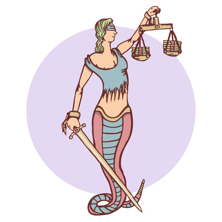 roman blind: Isolated cartoon evil snake lady justice