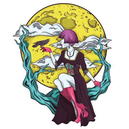 goth girl: Isolated cartoon gothic princes of the moon