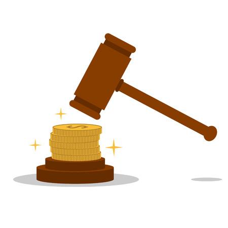 bestechung: Isoliert Cartoon Gesetz Hammer und Bestechung