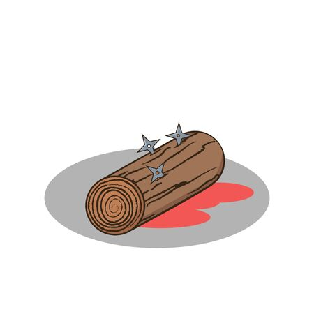 replacement: Isolated cartoon wood and shuriken ninja replacement body