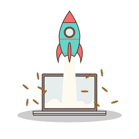 Cohete de la historieta aislada y computadora portátil en línea de inicio Foto de archivo - 37732094