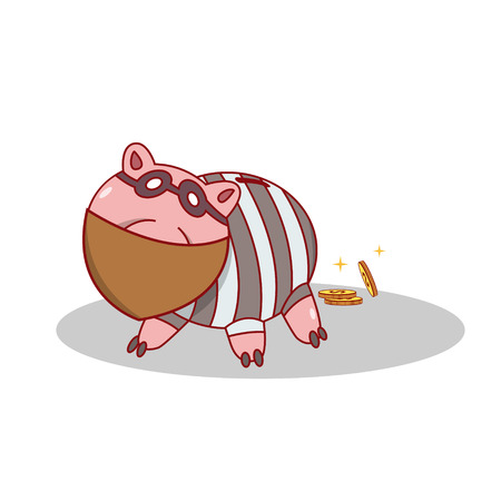 Isolated cartoon piggy bang burglar stealing money Illustration
