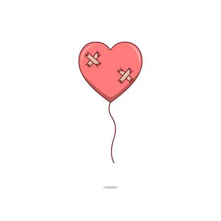 heartbreaking: Isolated cartoon broken heart love balloon Illustration