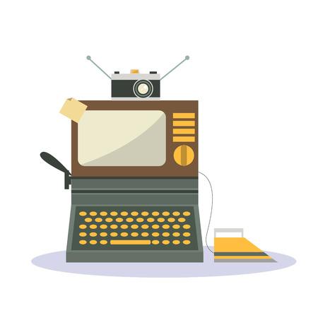 type writer: Cartoon isolato televisione d'epoca in ferro telecamera e macchina da scrivere