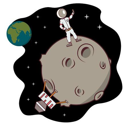 Geïsoleerde cartoon maanlanding selfie tijd Stock Illustratie