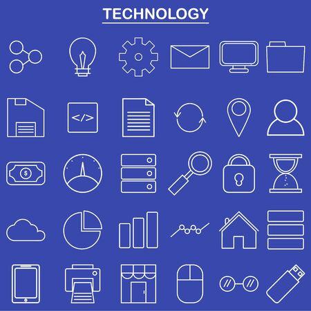 웹 사이트 및 앱을위한 선형 기술 아이콘