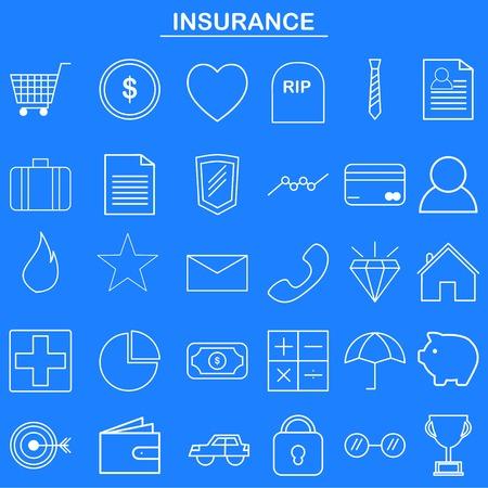 웹 사이트 및 모바일 앱을위한 보험 선형 아이콘