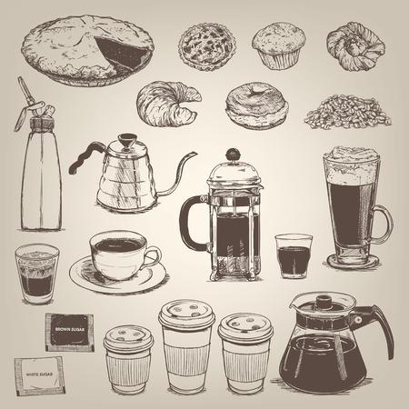 filiżanka kawy: Kawiarnia elementem projektu zabytkowe Ilustracja
