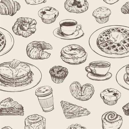 Breakfast meal seamless pattern Illusztráció