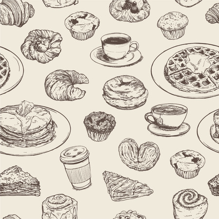 Breakfast meal seamless pattern Illustration
