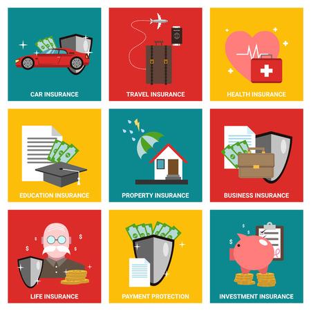 보험 평면 디자인 아이콘