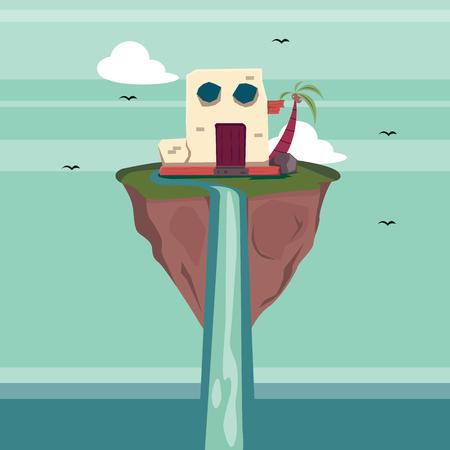 under water grass: Floating Island Fantasy Illustration