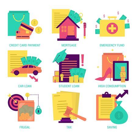 human icons: Finance and money flat design icon Illustration