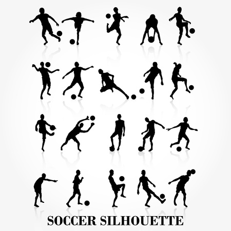 playing soccer: Soccer player silhouette collection