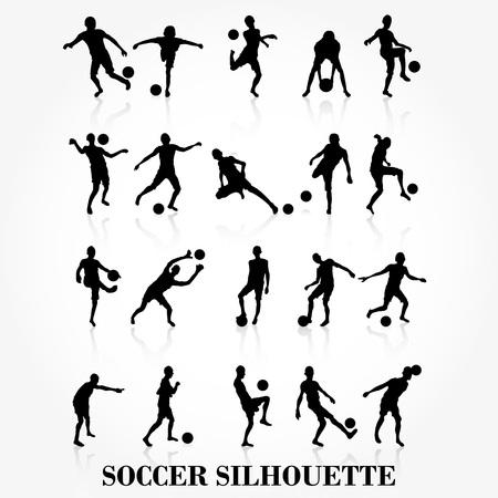 Voetballer silhouet collectie Stock Illustratie