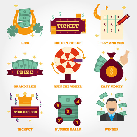Lottery flat design icon collection Ilustrace