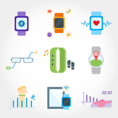electronic device: wearable device flat design icon