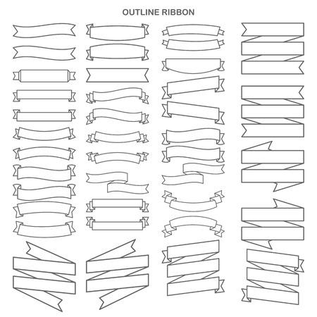 Outline collection de ruban ensemble Vecteurs