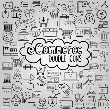 E commerce doodle icons collection