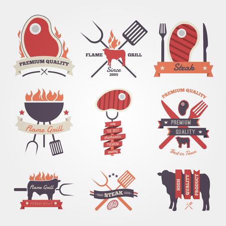 t bone steak: Steak vintage label design Illustration