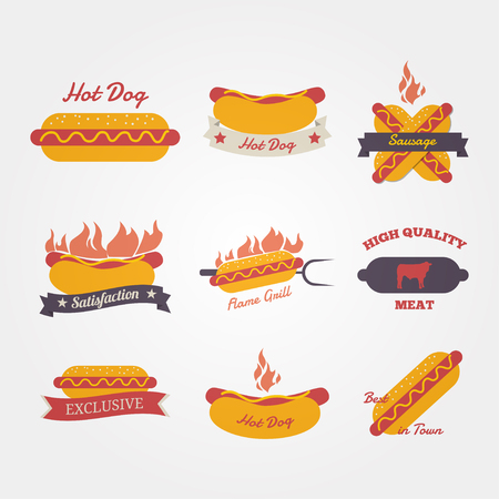 hot dog label: Hot dog flat design vintage label
