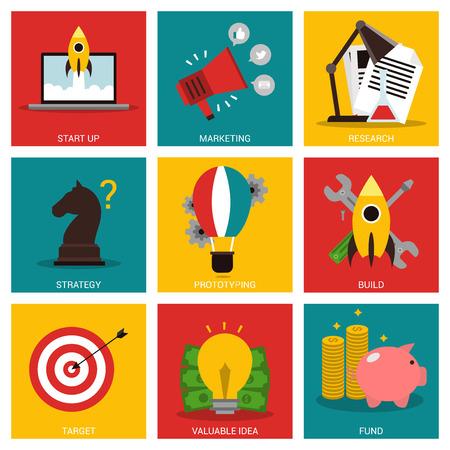 entrepreneurship: Entrepreneurship nine flat items concept