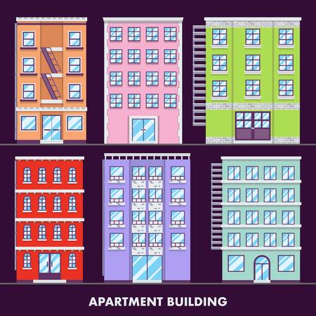 prestige: Apartment building flat design minimalist and full color