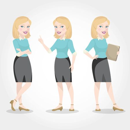 Female character Caucasian business woman.