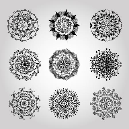 Mandala kaleidoscope design element hand drawn