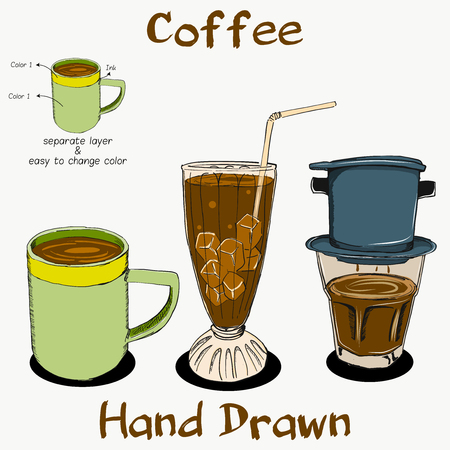 Coffee Hand Drawn on separate layer Illustration