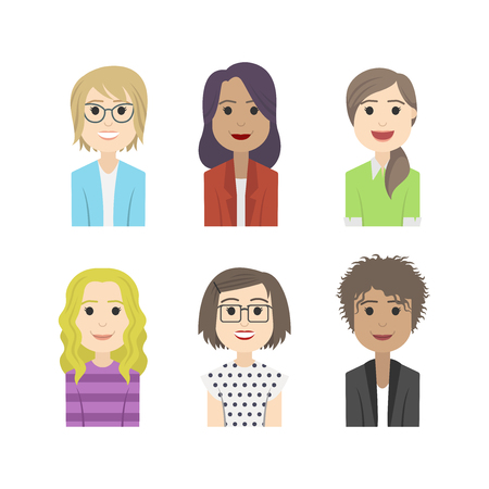 simple people avatar woman fashion character