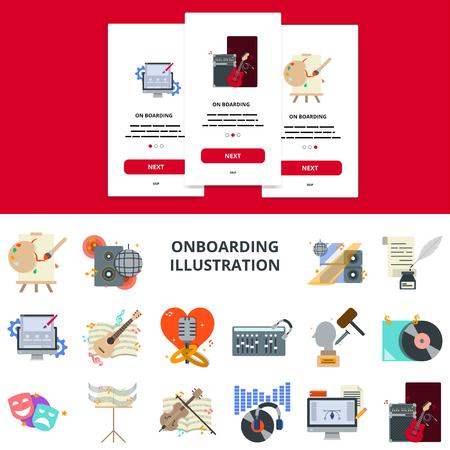 탑승 모바일 앱 화면에 대한 음악 및 아트 플랫 디자인 개념. 일러스트