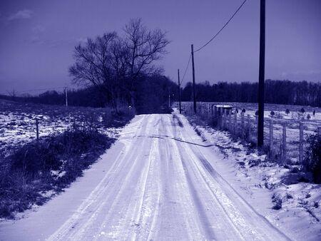 Snowy Road Banco de Imagens